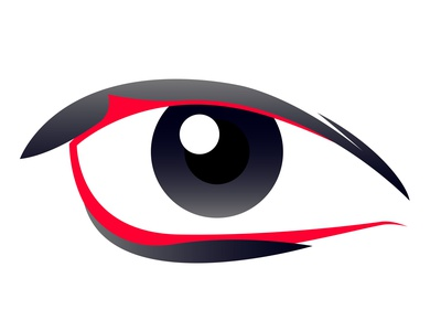Vector eye in graphic style company art design style view front open see look watch pupil symbol sign emblem lashes eyelashes eyeball eye icon logo