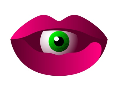 Vector eye in graphic style front human organ pink green art symbol sign emblem icon logo pupil iris eyeball throat mouth lip lips eye vector