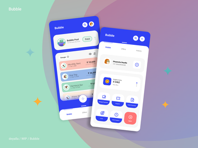Bubble Wallet gamification coins wip android finance banking upi fintech wallet minimal icon vector app ux illustration ui
