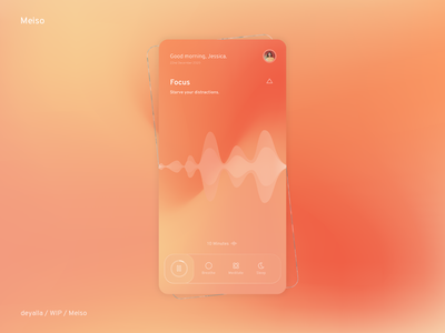 Meiso - Wellbeing app. timeline user sleep breathe soundwave gradients focus meditation wellbeing glassmorphism flat minimal illustration icon app android ux ui