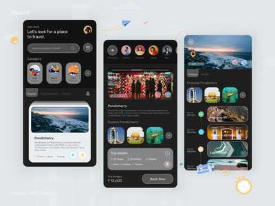 Raasto - Trip Planner cards product design vacation travelling app social cards ui budget stories glassmorphism maps route trip planner flat minimal icon design app android ux ui