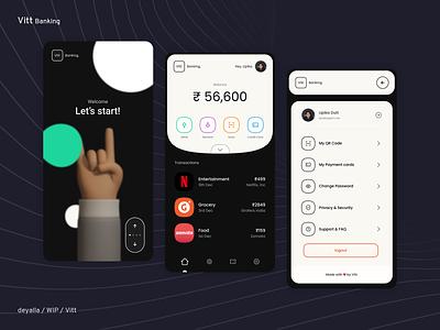 Vitt - Banking app product design app design fintech app onboarding credit card budget tracking netflix finance banking typography glassmorphism flat illustration minimal design app android ux ui