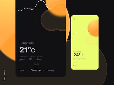 Clima - Weather app humidity illustraion clouds sun menu tracker search graph temperature weather glassmorphism logo flat icon minimal design app android ux ui