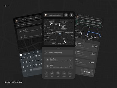 Qi - Ridesharing didi ola uber bookmarks tracker location maps ridesharing car booking social budget illustration flat minimal design app android ux ui