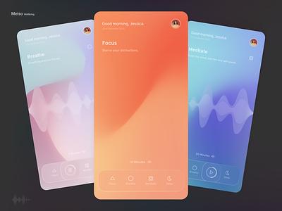 Meiso - Wellbeing app #2 zen music app breathe sleep app timeline gradients focus meditation app wellbeing glassmorphism logo flat icon illustration minimal android design app ux ui
