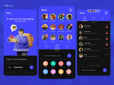 GrupChat - Messaging app group chat live chat chatbot chat messaging messaging app messenger redesign dailyui social logo flat icon illustration minimal android design app ux ui