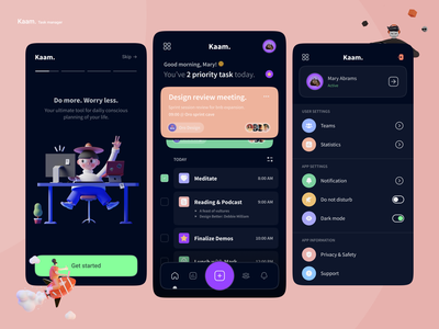 Kaam - Task manager onboard managment management app todo app todoist todo task list task management task manager task tasks design app social logo icon illustration android ux ui