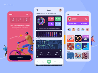 Pao - Fitness Tracker charts maps fitness tracker workout app running app fitness app trainer running gym fitness app design social flat icon minimal android design app ux ui