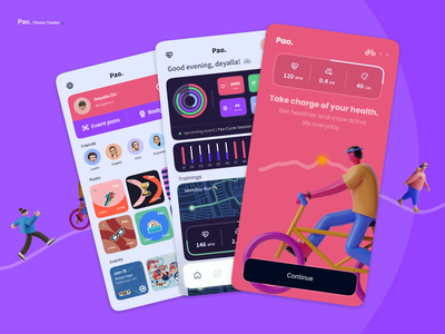 Pao - Fitness Tracker physical fitness activity activity tracker charts maps workout app fitness app trainer running gym fitness app design logo illustration icon android design app ux ui