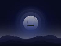 Empty swing at night
