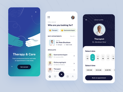Therapy&Care - Mobile app pattern healthcare motion ui design ux design ios concept mobile app