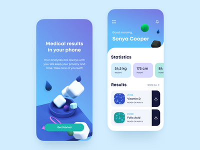 Medical results in your phone - App healthcare ui design ux design ios concept mobile app ponee