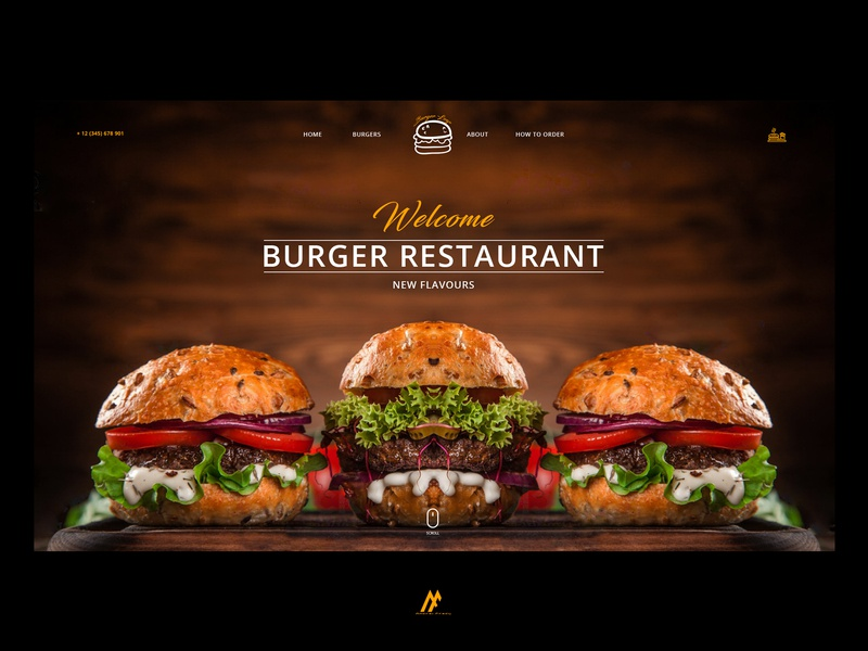 BURGER RESTAURANT WEBSITE - 2018 graphic arts website creator typography webdesign restaurant design restaurant burger menu burger flat minimal logo website banner website concept graphic art simple website illustration web design modern