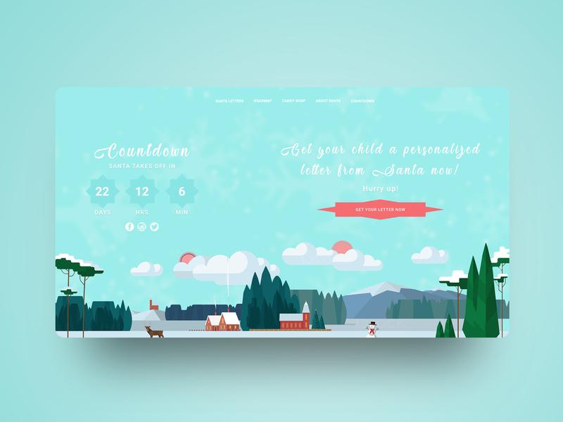 CHRISTMAS COUNTDOWN DESIGN - 2018 animation website creator ux ui graphic art hollidays christmas card christmas webdesign website banner simple illustration website concept website web logo flat minimal design modern