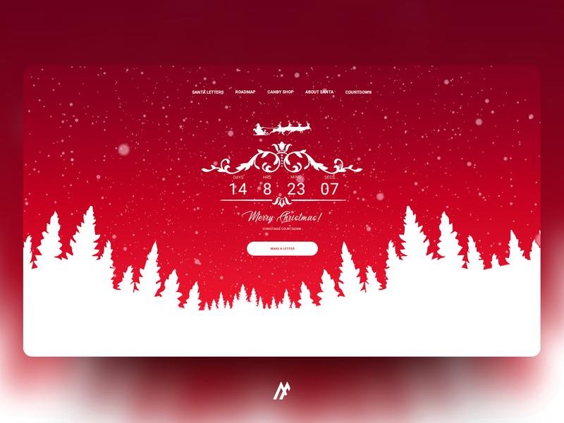 SANTA COUNTDOWN DESIGN - 2018 snow simple flat ux webdesign ui website banner website concept web logo illustration website santa claus santa christmas card winter snowflake christmas design modern