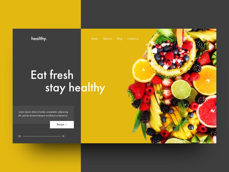 Remake Healthy Food Web Design - 2019 remake website banner concept webdesign web modern minimal illustrated logo illustration icon healthy food graphic arts graphic art food art food and drink food flat design branding art