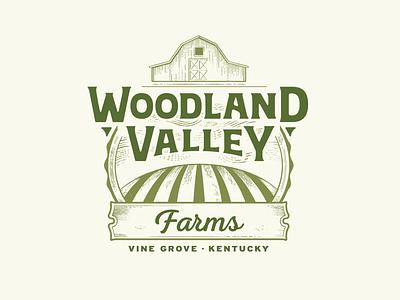 Woodland Valley Farms Logo vector logo design agriculture engraving illustration valley barn farm logo