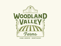 Woodland Valley Farms Logo vector logo design agriculture engraving illustration valley barn farm logo