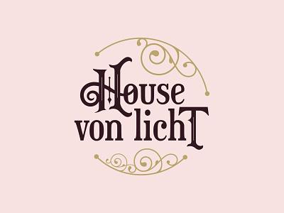 House von Licht elegant swirls victorian pink font logo design branding