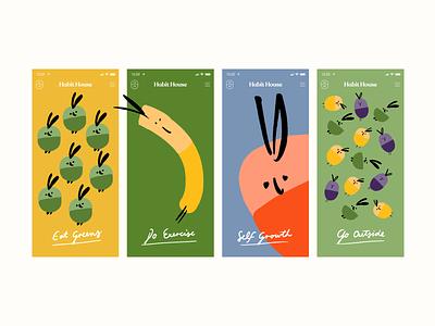 Concept App Onboarding Screens illustrator figma procreate ui design fruit character design hand type health app app illustration onboarding