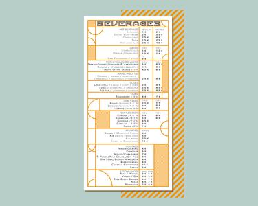 Beverages menu design