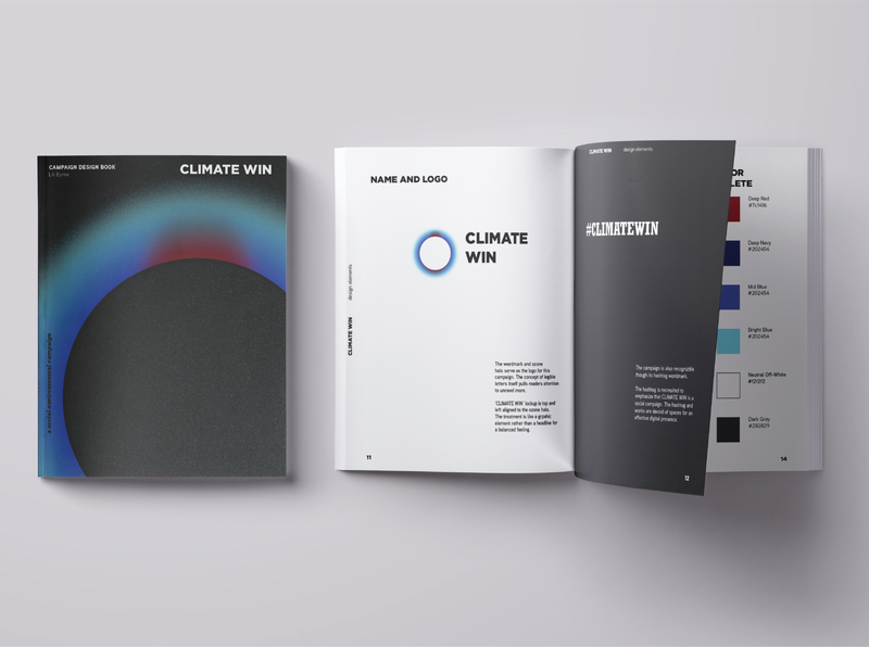 CLIMATE WIN - a social environmental campaign typography design gradient abstract design booklet style guide campaign campaign design book cover book design