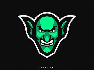 Goblin green goblin myth angry branding vector illustration xndrew mascot logo esport design