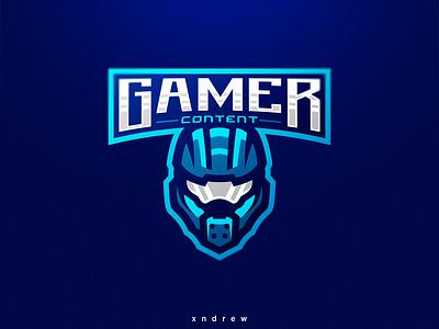 Gamer Content halo branding vector illustration esport xndrew mascot logo design