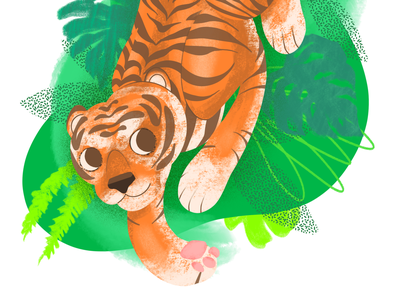 Crouching Tiger big cats procreate art procreate forest tiger art flat illustrator design illustration