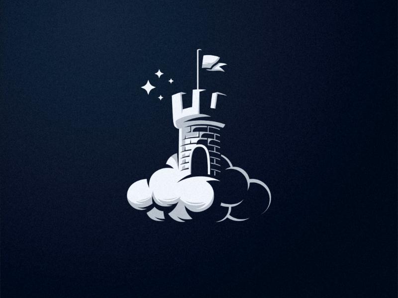 Dream castle shadow modern inspiration castle night awsome design logo