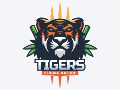 Tiger logo illustration cartoon animal tiger lion bamboo nature technology sport awesome inspire design logo