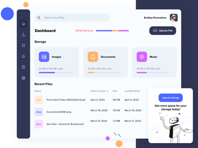 File Manager - Cloud Storage web app cloud services uiux upgrade colorful file upload cloud storage cloud illustration file management files application web ui mobile ui mobile storage file manager ux ui app