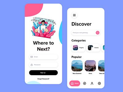 Travel Mobile Application application app illustration colorful vacation flights traveling travel app user interface travel mobile ui mobile ux