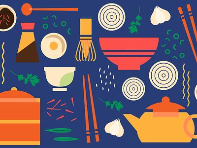 Sharebite Cuisine Card: Asian sharebite dim sum asian food design restaurant food food illustration illustration