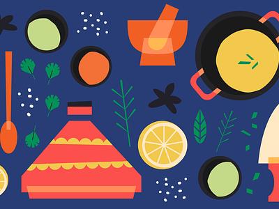 Sharebite Cuisine Card: Middle Eastern sharebite spices tajine middle eastern design restaurant food illustration food illustration