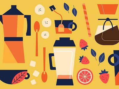 Sharebite Cuisine Card: Coffee & Juice cafe smoothie juice coffee design sharebite restaurant food illustration food illustration