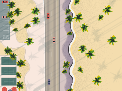 Life's a Beach texture driving sunset beach illustration
