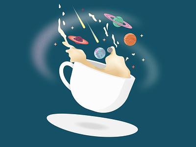 Cosmic Latte planet stars comet space planets cosmic latte cosmic illustration