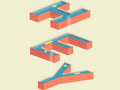 hey! isometric illustration isometric art isometric design illustration lettering art swimming pool pool lettering