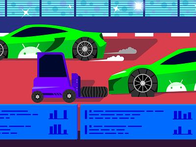 Debug Android Crashes Hero Illustration monitoring saas crash racetrack racecar car hero image tech vector illustration vector flat flat illustration editorial illustration editorial data datadog illustration