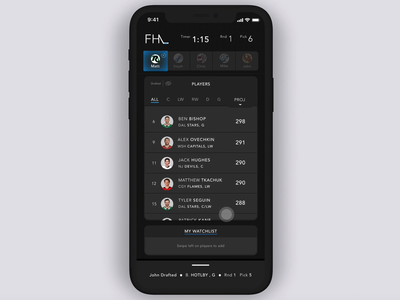 Fantasy Sports App: Menu