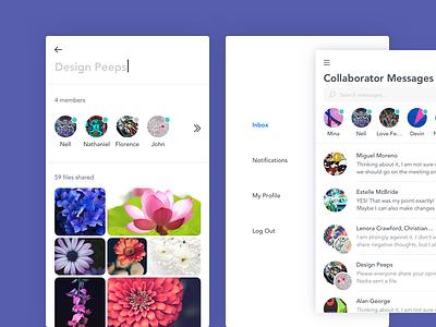 Messaging App inbox menu clean mobile compose message users photos details