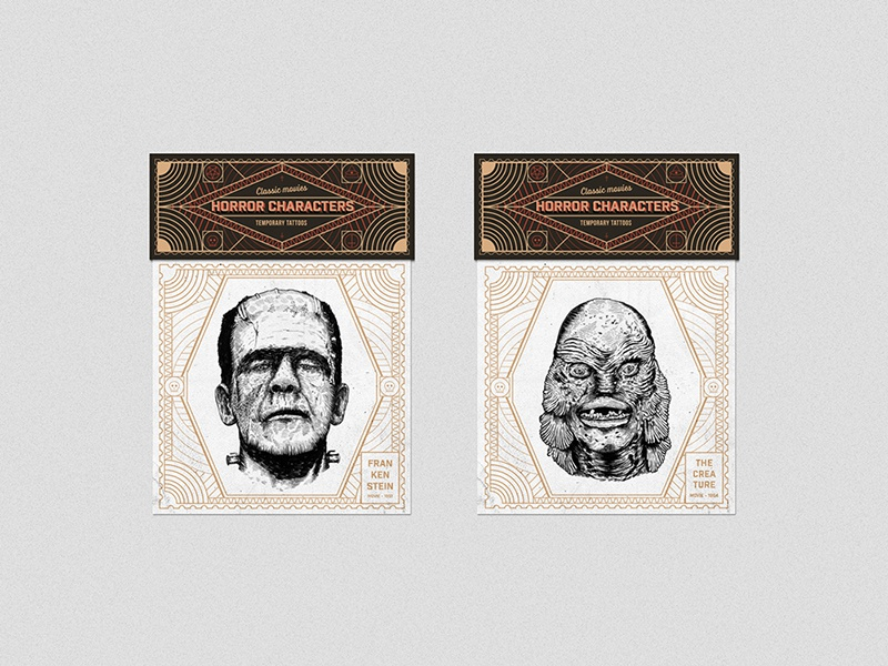 Horror Characters - temporary tattoos horror caracters temporary tattoos frankenstein the creature print packaging illustration drawing design graphic designs logo