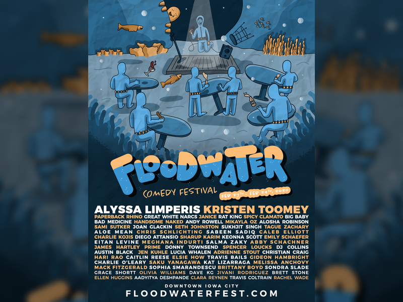 Floodwater Comedy Festival Poster comedy festival festival comedy poster design illustration graphic design gig posters gig poster gigposter design