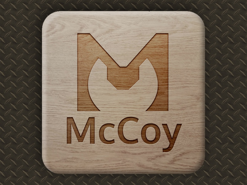 McCoy Logo Mock-up wood mock-up mockup wrench tools tool contractor construction illustrator creative branding brand
