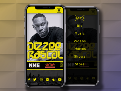 Dizzee Mobile Website Mock-up