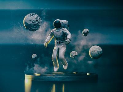 Astronaut rocks dimitrissakkas octane otoy cinema 4d space astronaut
