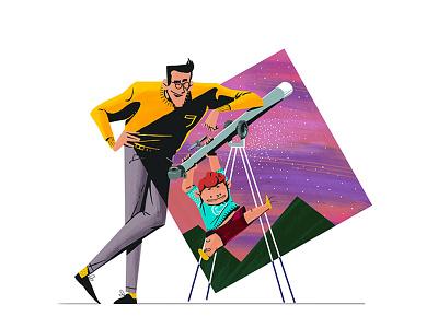 Sharing Passions wacom adobe space family drawing illustration