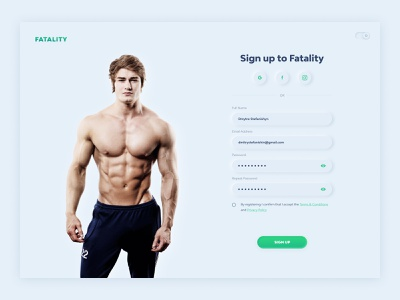 Neomorphism SignUp Light - Daily#1 trend2020 web neon light ux ui sign up neomorphism gym fitness club fitness @dailyui