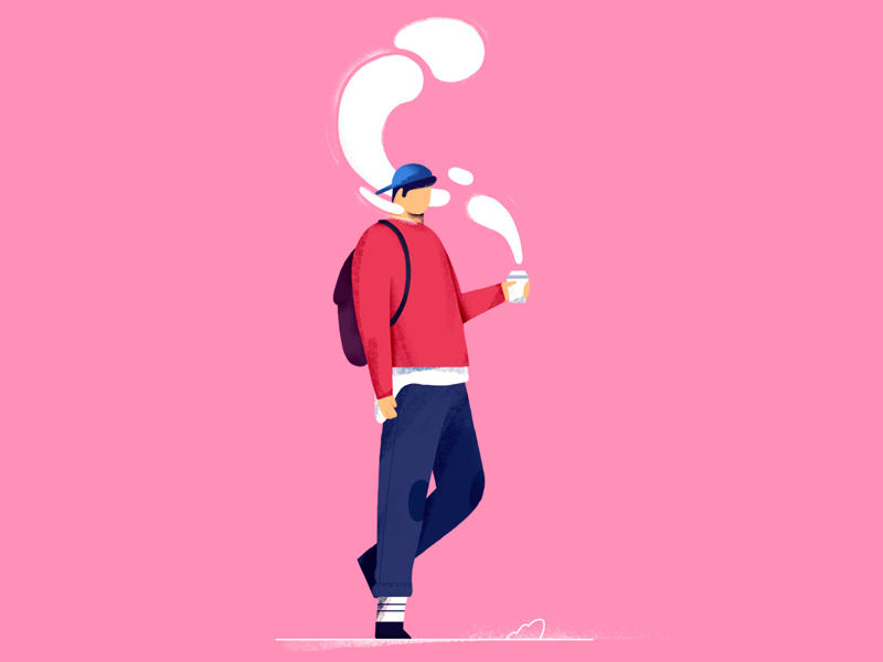 Monday bag backpack illustration design character walk flavour fume smoke coffee monday